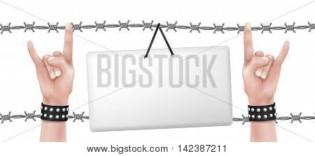 Isolated hanging card with hands with rock gesture surrounded by barbed wire.