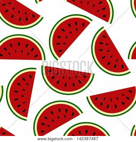 Wallpaper juicy summer watermelon slices on a white background.Texture berries vector illustration