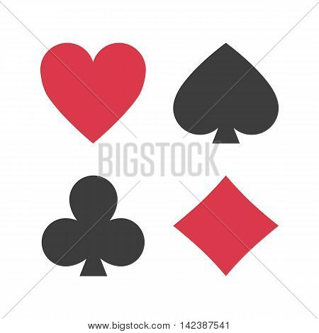Playing card suits icon symbol set. Illustration of set playing card suits isolated on white background.