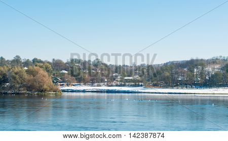 winter landscape of the river Dniester panorama