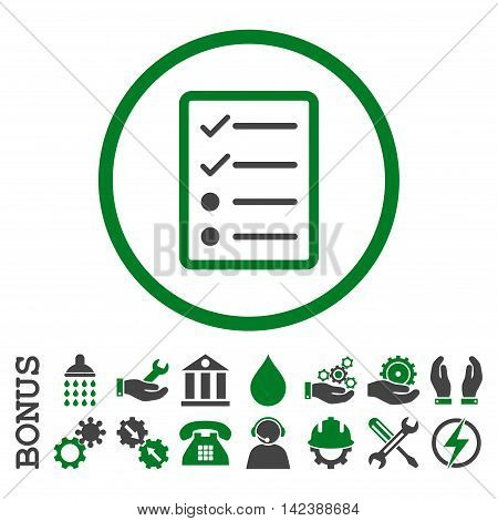Checklist Page vector bicolor icon. Image style is a flat pictogram symbol inside a circle, green and gray colors, white background. Bonus images are included.