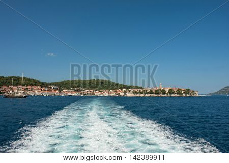 view of Korcula old town located on the island of Korcula in Adriatic sea. Croatia, Europe.