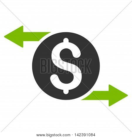 Money Exchange icon. Vector style is bicolor flat iconic symbol with rounded angles, eco green and gray colors, white background.