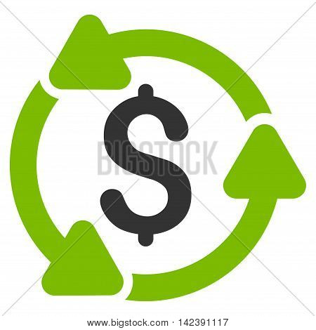 Money Turnover icon. Vector style is bicolor flat iconic symbol with rounded angles, eco green and gray colors, white background.