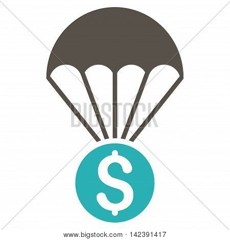 Financial Parachute icon. Vector style is bicolor flat iconic symbol with rounded angles, grey and cyan colors, white background.