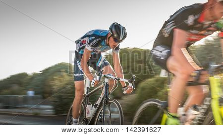 Cyclist In Acceleration During A Night Race