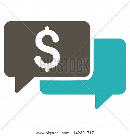Price Bids icon. Vector style is bicolor flat iconic symbol with rounded angles, grey and cyan colors, white background.