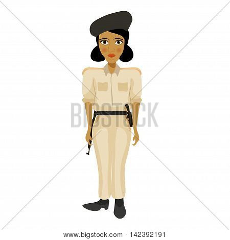 India Young Policemen Woman With A Blush. Vector Illustration