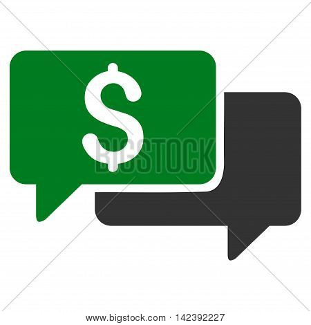 Price Bids icon. Vector style is bicolor flat iconic symbol with rounded angles, green and gray colors, white background.