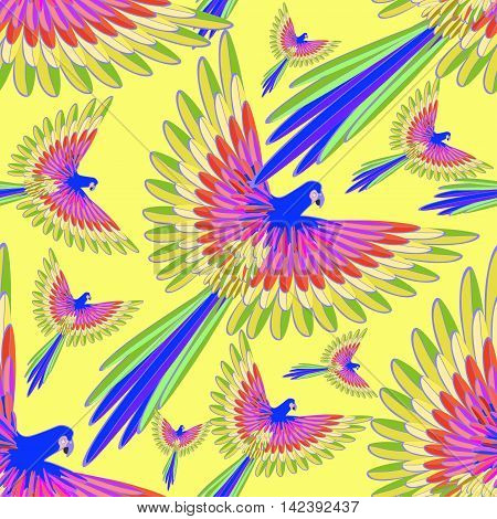 Seamless Pattern Blue The Caribbean Parrot Fly Vector Illustration