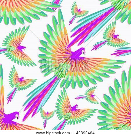 Seamless Pattern Red Caribbean Parrot Flying. Vector Illustration