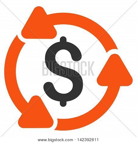 Money Turnover icon. Vector style is bicolor flat iconic symbol with rounded angles, orange and gray colors, white background.