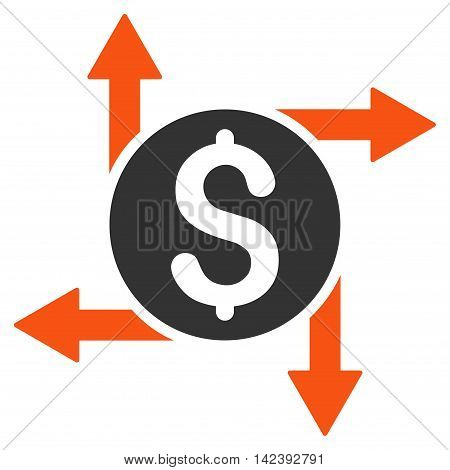 Spend Money icon. Vector style is bicolor flat iconic symbol with rounded angles, orange and gray colors, white background.