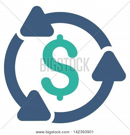Money Turnover icon. Vector style is bicolor flat iconic symbol with rounded angles, cobalt and cyan colors, white background.