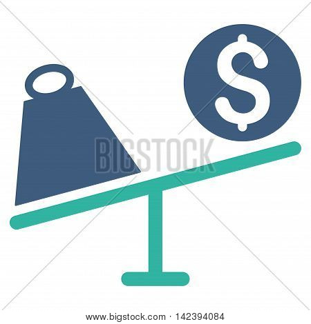 Trade Swing icon. Vector style is bicolor flat iconic symbol with rounded angles, cobalt and cyan colors, white background.