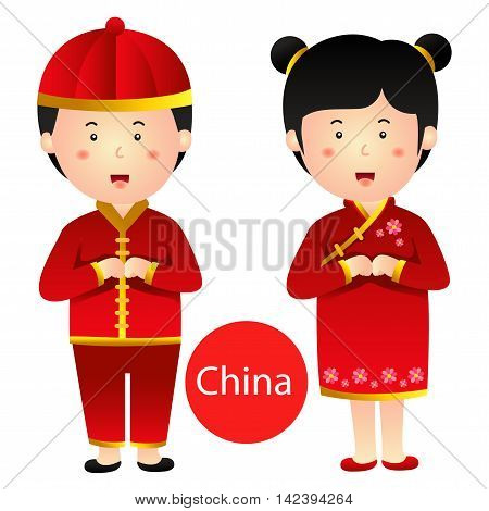 Illustrator of China Boy and Girl vector isolated on white background
