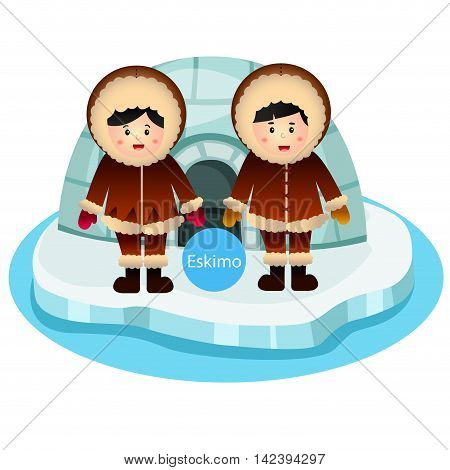 Illustrator of Eskimo Boy and Girl two vector isolated on white background
