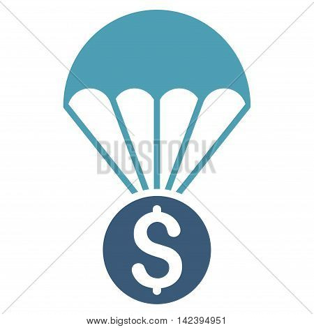Financial Parachute icon. Vector style is bicolor flat iconic symbol with rounded angles, cyan and blue colors, white background.