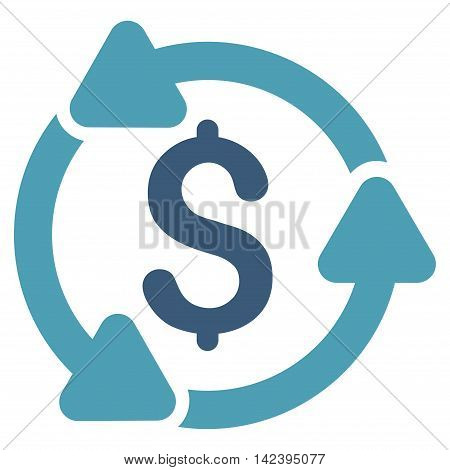 Money Turnover icon. Vector style is bicolor flat iconic symbol with rounded angles, cyan and blue colors, white background.