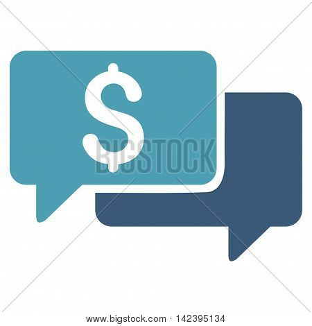 Price Bids icon. Vector style is bicolor flat iconic symbol with rounded angles, cyan and blue colors, white background.