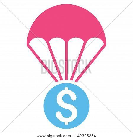 Financial Parachute icon. Vector style is bicolor flat iconic symbol with rounded angles, pink and blue colors, white background.