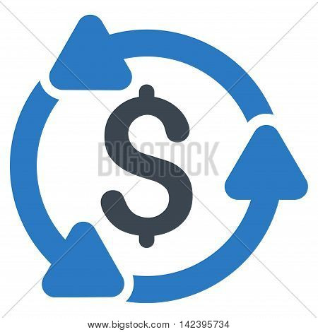 Money Turnover icon. Vector style is bicolor flat iconic symbol with rounded angles, smooth blue colors, white background.