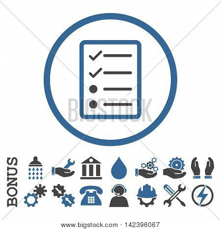 Checklist Page vector bicolor icon. Image style is a flat pictogram symbol inside a circle, cobalt and gray colors, white background. Bonus images are included.
