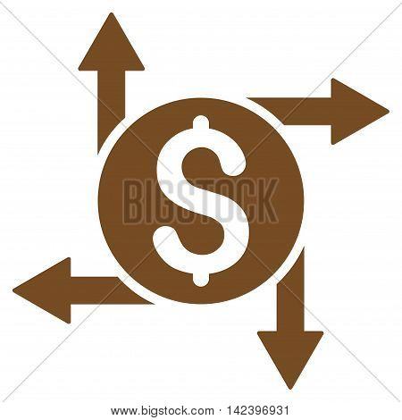 Spend Money icon. Vector style is flat iconic symbol with rounded angles, brown color, white background.