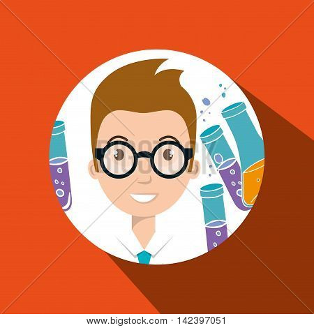 person tube lab chemistry vector illustration graphic