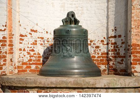 PERESLAVL, RUSSIA - JULY 15, 2016: The bell of assumption Cathedral with the image of the virgin Mary with the Christ child. Uspensky (Dormition) Goritsky monastery Pereslavl Zalessky. Historical landmark of the  Golden ring of Russia