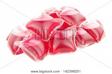 Laundry washing detergent sachets isolated on a white background