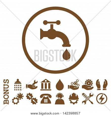 Water Tap vector icon. Image style is a flat pictogram symbol inside a circle, brown color, white background. Bonus images are included.