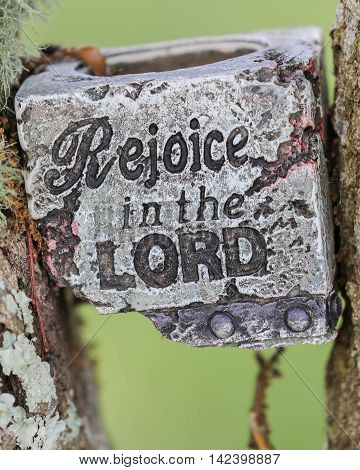 A rejoice in the lord candle holder in a tree