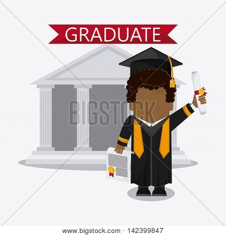 graduation cap building diploma cartoon boy  graduate university icon, Vector illustration