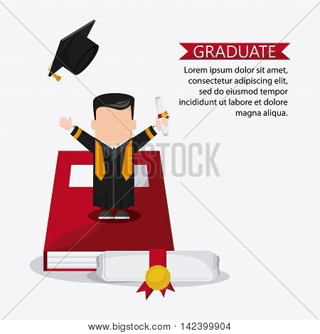 graduation cap book diploma cartoon boy  graduate university icon, Vector illustration