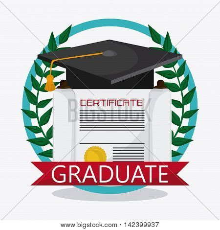graduation cap diploma wreath seal stamp graduate university icon, Vector illustration