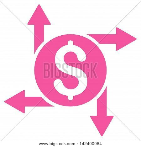 Spend Money icon. Vector style is flat iconic symbol with rounded angles, pink color, white background.