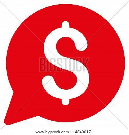 Bid icon. Vector style is flat iconic symbol with rounded angles, red color, white background.