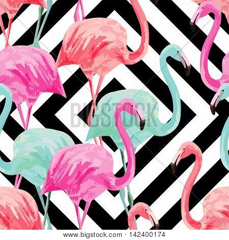 Composition of the trendy summer nature bird red pink blue flamingo. Hand drawn watercolor. Fashion seamless vector pattern art design wallpaper on a black white geometric background