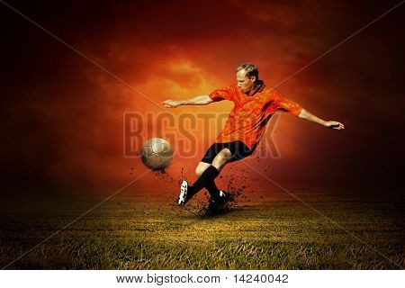 Football player on the outdoors field