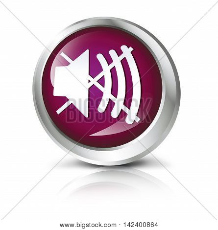 Glossy icon or button with sound off symbol. 3D illustration