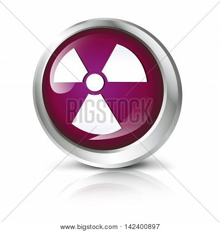 Glossy icon or button with atomic or toxic symbol. 3D illustration