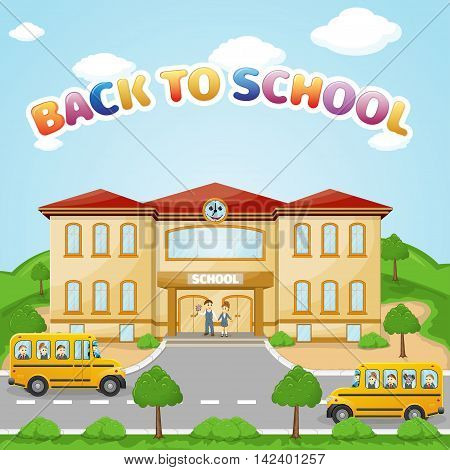 illustration of school building for back to school banner or poster design