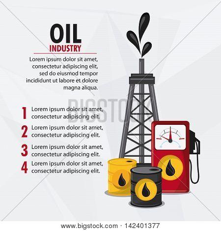 barrel drop tower dispenser oil industry production petroleum icon, vector illustration