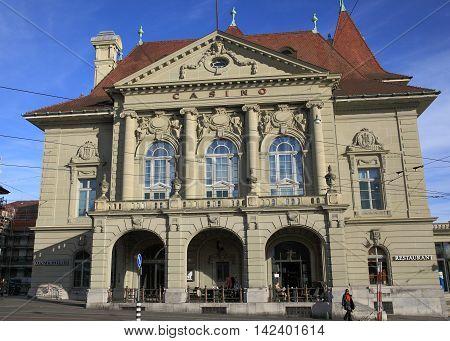 BERN, SWITZERLAND - Nov 16, 2015: Historic casino on Nov 16, 2015 in Bern, Switzerland. It is a tourist attraction in the capital of Switzerland.