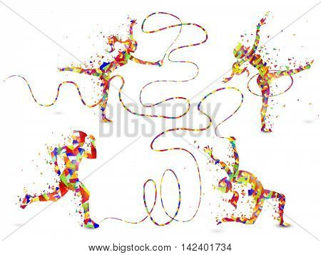 Colorful abstract illustration of people doing Gymnastics with Ribbon and Hoop on white background for Sports concept.