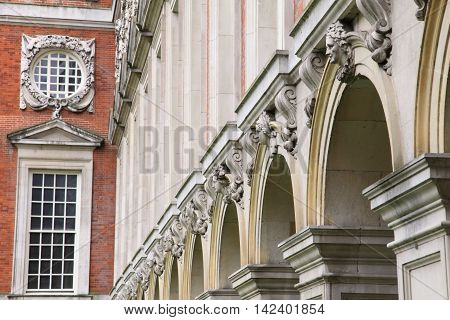 architectural details of Hampton Court Palace, England