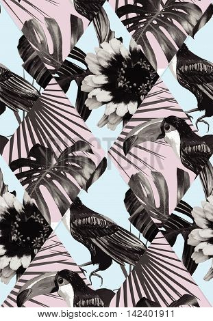 Fashion black white tropic exotic patchwork of toucan bird and plant Monstera palm banana leaves. Print vector illustration floral seamless pattern with flowers on a blue background. Trendy wallpaper