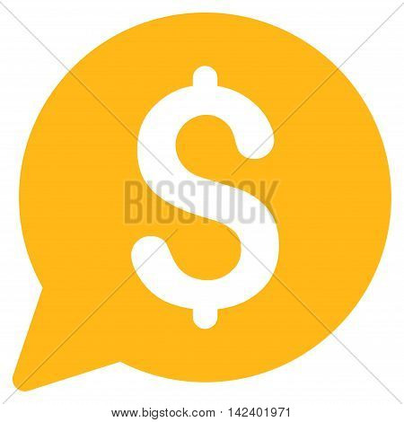 Bid icon. Vector style is flat iconic symbol with rounded angles, yellow color, white background.