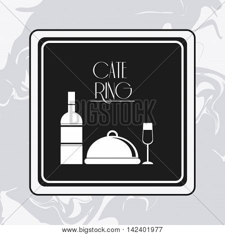 plate wine bottle cup catering service menu food icon. Silhouette illustration